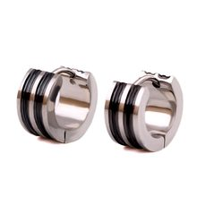Clássico brincos de aço inoxidável 316l círculo pequeno parafuso prisioneiro brincos para homens preto faixa padrão brincos
