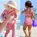 2017 New Style Kids Swimwear 1-6Y Girls Two Pieces Striped Bow Child Swimsuit Children Bikini Baby Girl Halter Swim Suits