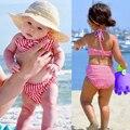 2017 Novo Estilo de Crianças Swimwear 1-6Y Meninas Duas Peças Listradas Arco Criança Crianças Maiô Menina Do Biquini Bebê Halter Fatos de banho