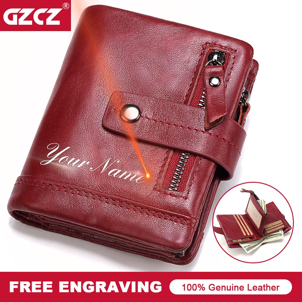 GZCZ Genuine Leather Women Wallets Lady Purse Fashion Female Clutch Card Holder Portomonee Rfid Luxury Coin Purse Money Bag 2018