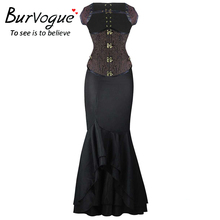 Burvogue Long Skirts Steampunk Corset Dress Sets Waist Control Corsets & Mermaid Skirt Dress Steampunk Corset for Women