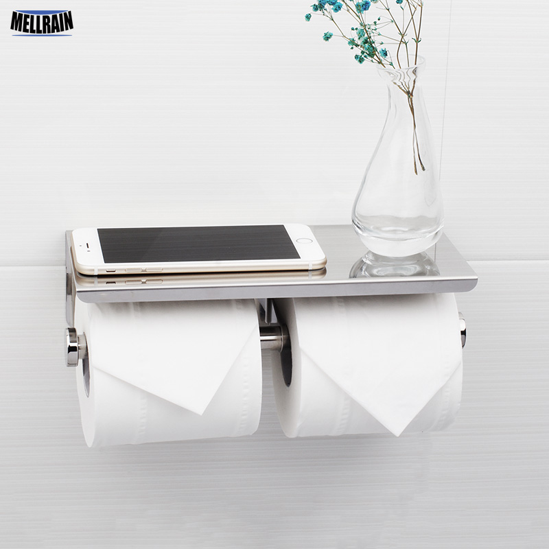 Mirror Poliashing Toilet Paper Holder With Double Papers Viable Long Place Platform 304 Stainless Steel Paper Rack