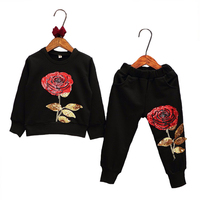 Baby Girls Clothing Sets 2017 Spring Girls Casual Wear Kids Sportswear Roses Child Suits Tracksuits Kids