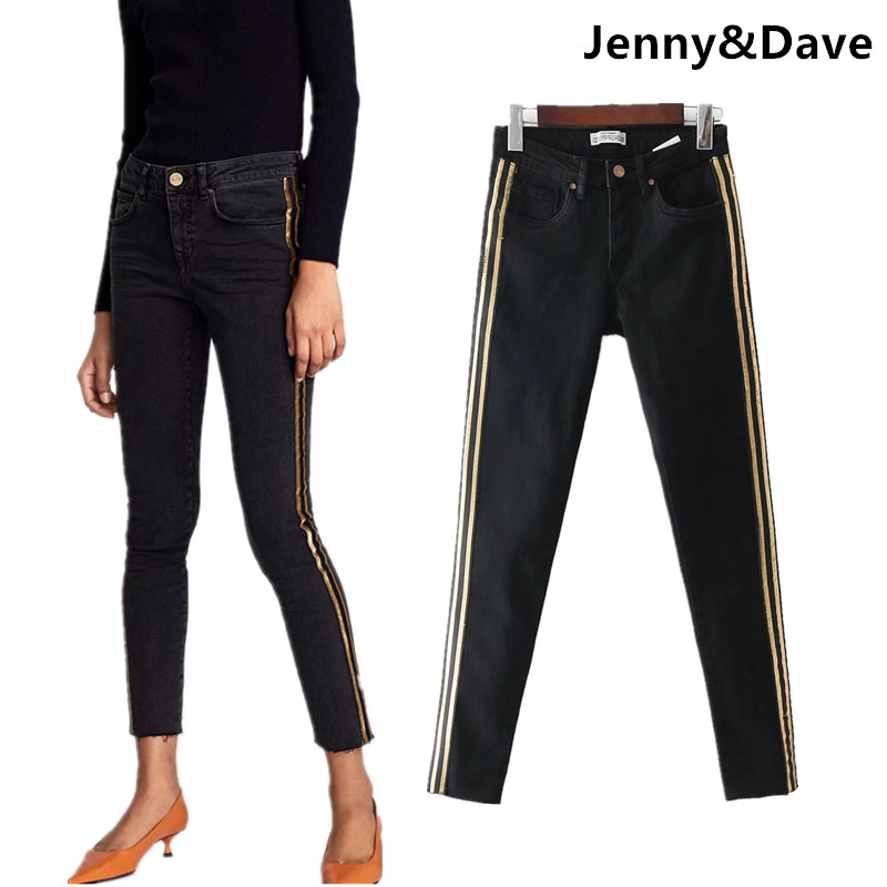 Jenny&Dave jeans woman high street vintage gold silk side striped pencil jeans skinny women jeans denim pants feminino plus size