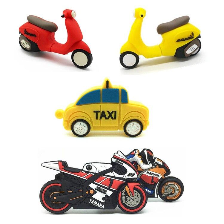 High Speed Cartoon Motorcycle and Taxi USB Flash Drive Pen Drive USB3.0 Memory Stick Pendrives 4GB 8GB 16GB 32GB 64GB Car U disk