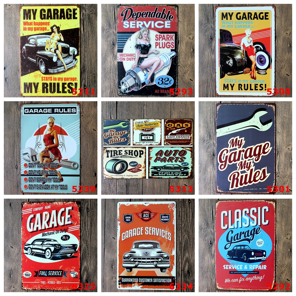 Auto repair shop Vintage Metal Painting wholesale Tin Signs Bar Pub Home Cafe Wallpaper  ...