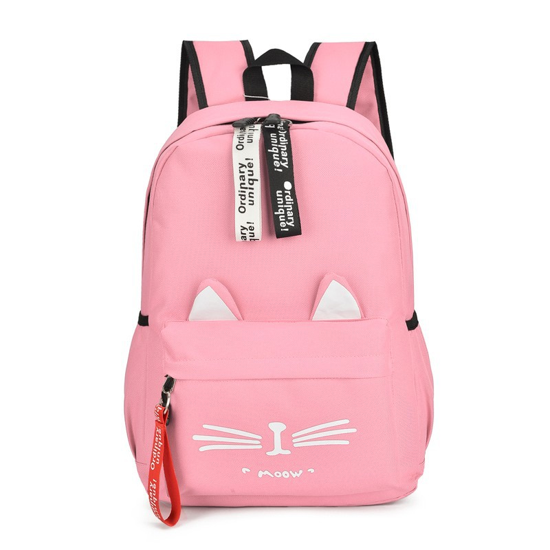 Student Bag New Cartoon Backpack Women's Canvas Student Bag Cute Cat Ear Student Bag