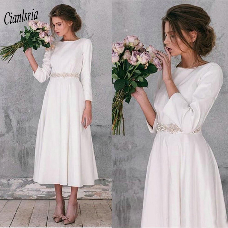 Modest 2019 Long Sleeve Short Wedding Dresses With Crystal