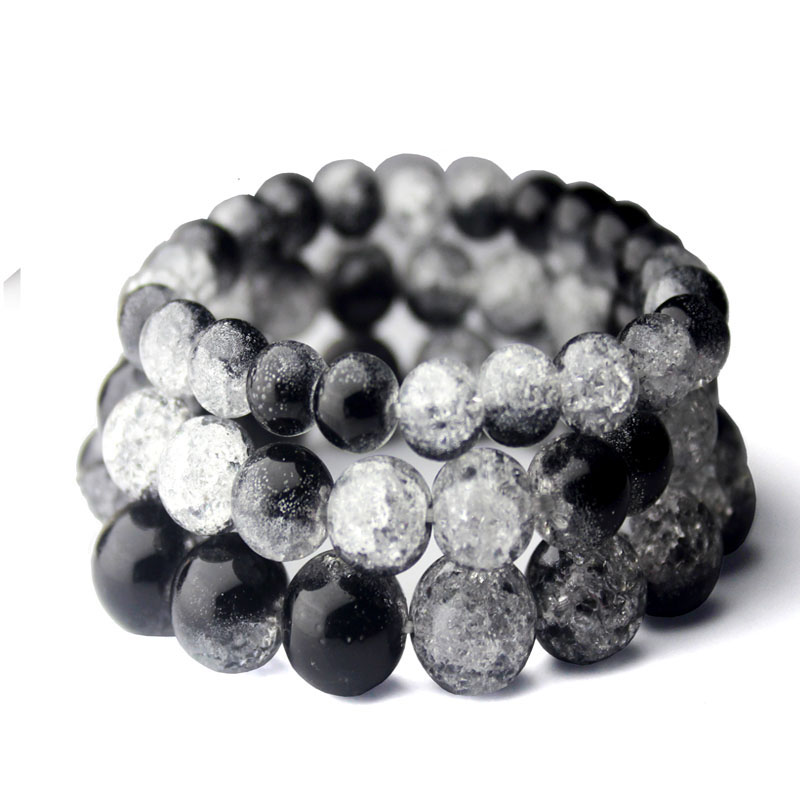 Handmade Black Blasting Crack Quartz Crystal Bracelets Natural Stone Lava Round Beads Elasticity Rope Hand Strings Jewelry
