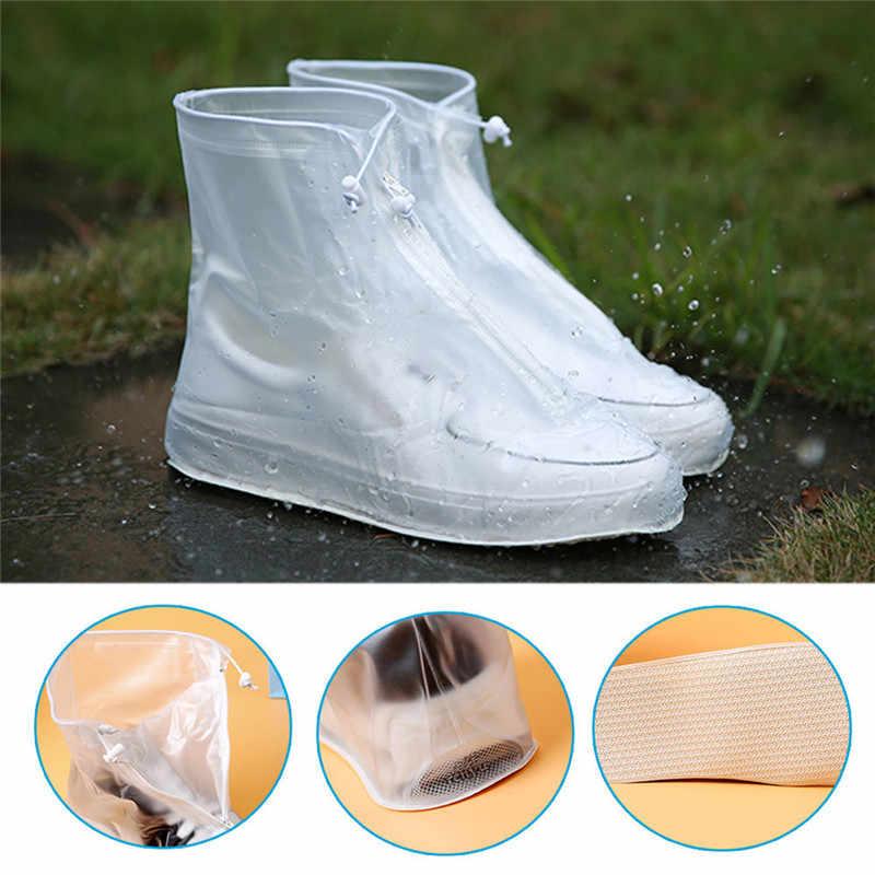 1 Pasang Dewasa Anak Menebal Tahan Air Sepatu Siklus Hujan Cetak Datar Slip-Tahan Overshoes Reusable Hujan Sepatu Penutup
