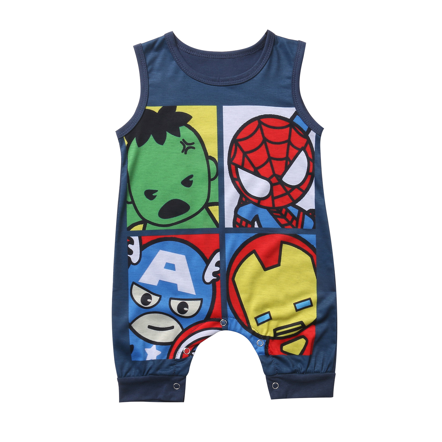 New Style Newborn Toddler Baby Boys Girls Clothes Cotton Sleeveless Romper Jumpsuit Outfits Cartoon Hero Baby Clothing