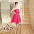 ZX558MH#wholesale 2016 new fashion short prom Bra toast the bride married red tutu performance bridesmaid dress Rose