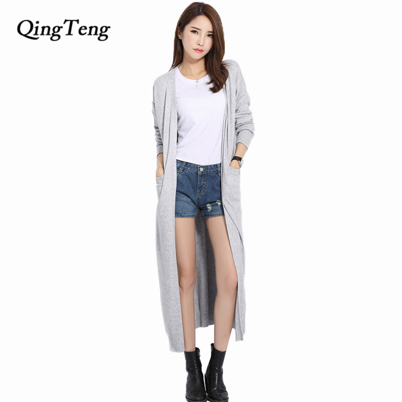 Long Cardigan Solid Cashmere V-Neck Open Cardigan Mujer Women Knitted Sweater Casual Loose Design Candy Color Gray Maxi Cardigan gray and white loose fit cardigan sweater