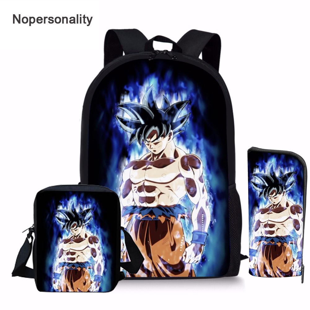 Nopersonality Cartoon Anime Dragon Ball Z Backpack Set For Boys Cool Kids Saiyan Sun Goku Vegeta Bagpack Children School Bookbag
