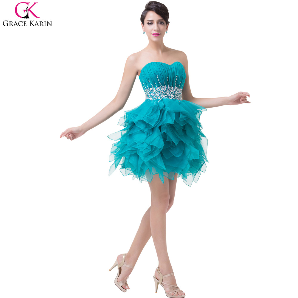 Grace Karin Green Turquoise Short Puffy Prom Dresses 2017 Ball Gowns ...