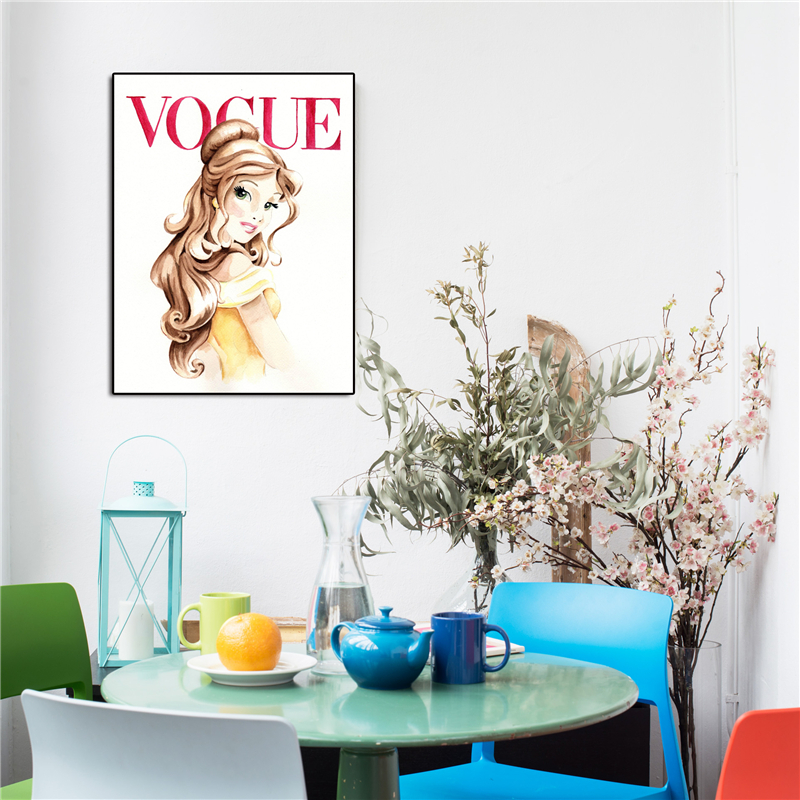 Beauty And Beast Belle Vogue Magazine Cover Art Canvas Poster Painting Wall Picture Print Modern Home Bedroom Decoration Artwork in Painting Calligraphy from Home Garden