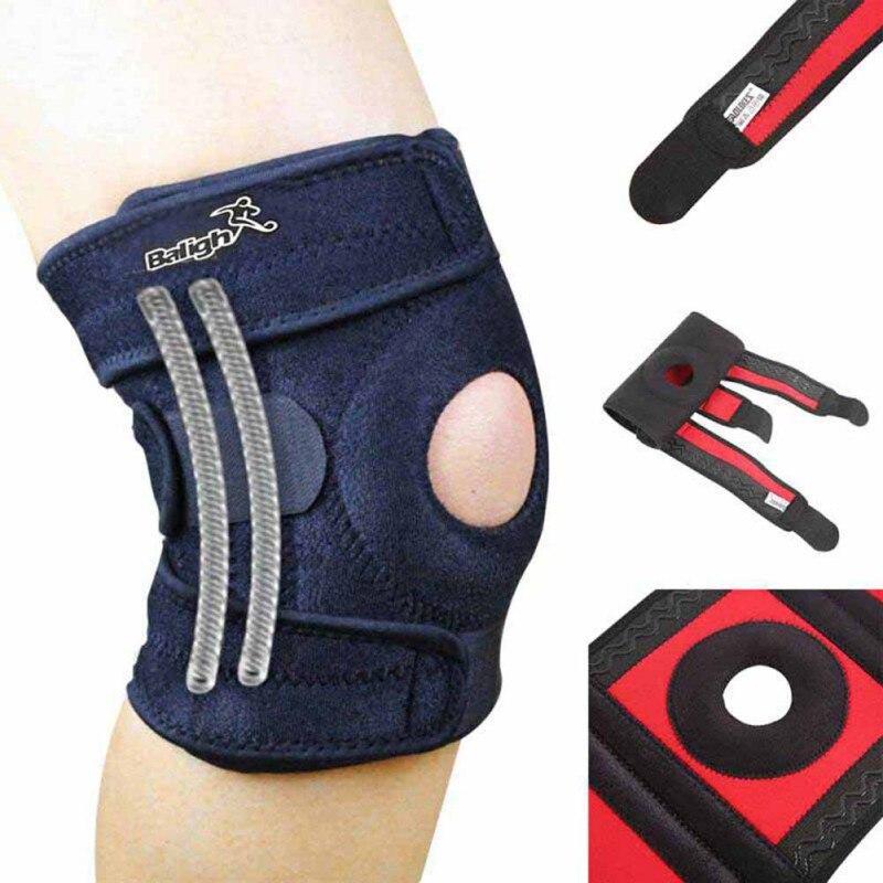 Регулируемый эластичный колено Поддержка скобка Kneepad коленной чашечки, наколенники отверстие Спортивная Безопасность гвардии ремешок для ...