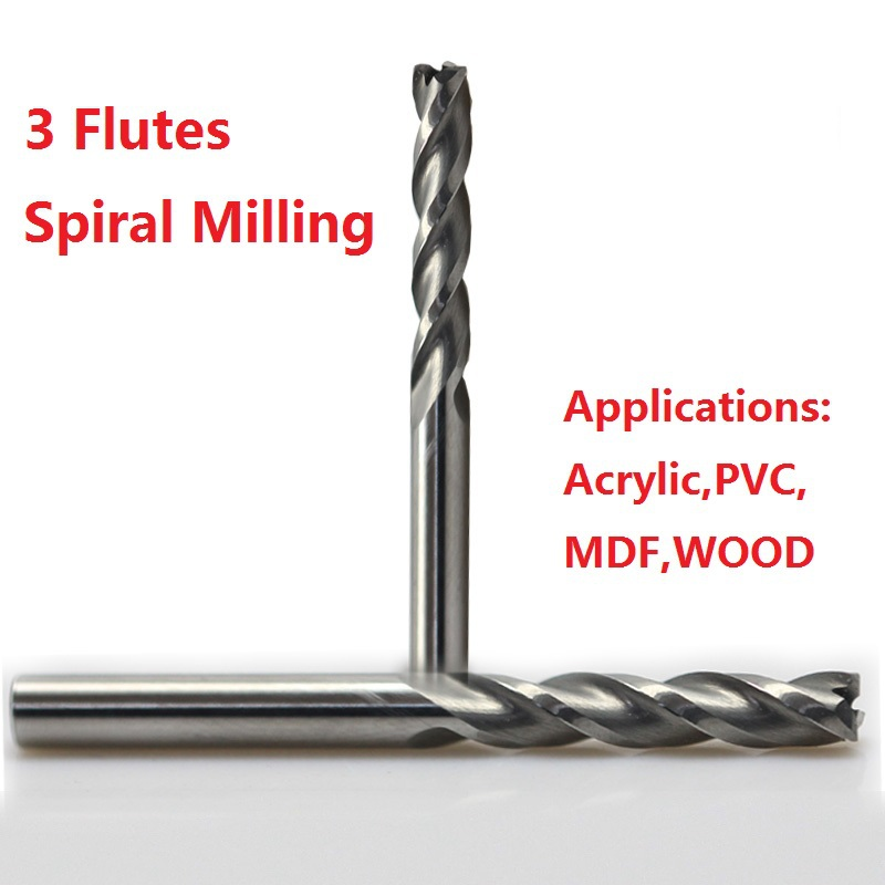 1pc 3.175mm SHK Three Flutes Spiral Milling Engraving Cutters Solid Carbide Cutting Bits 3 Flutes Spiral Tools 4 /6 mm Shank