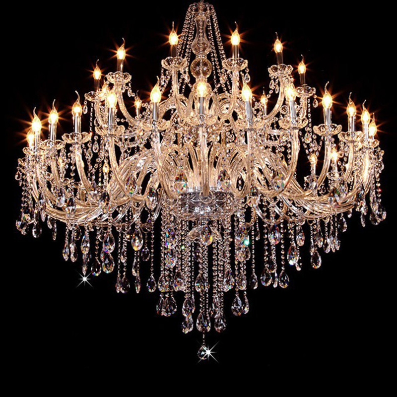 Led Lamps Large Crystal Chandelier Modern Big Candle