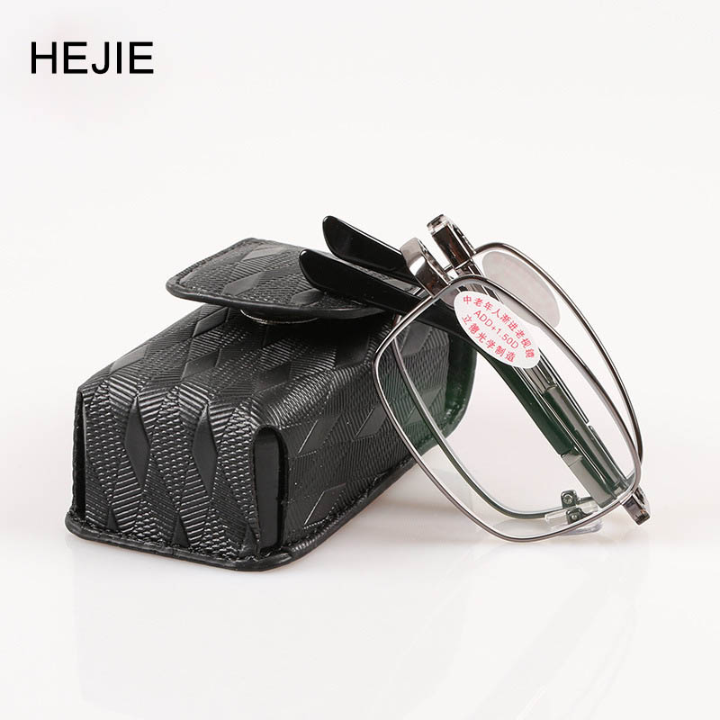 Classic Men Foldable Alloy Multifocal Progressive Reading Glasses Rectangle Full Rim High Quality Diopter+1.0-+4.0 Y1055