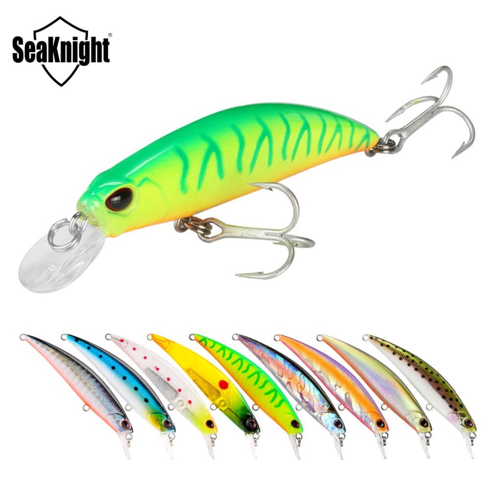 SeaKnight Minnow SK040 9PCS 9.5g 70mm Sinking Minnow Hard Fishing Lure Ripbait VMC Hook Saltwater/Freshwater Lure Fishing Tackle