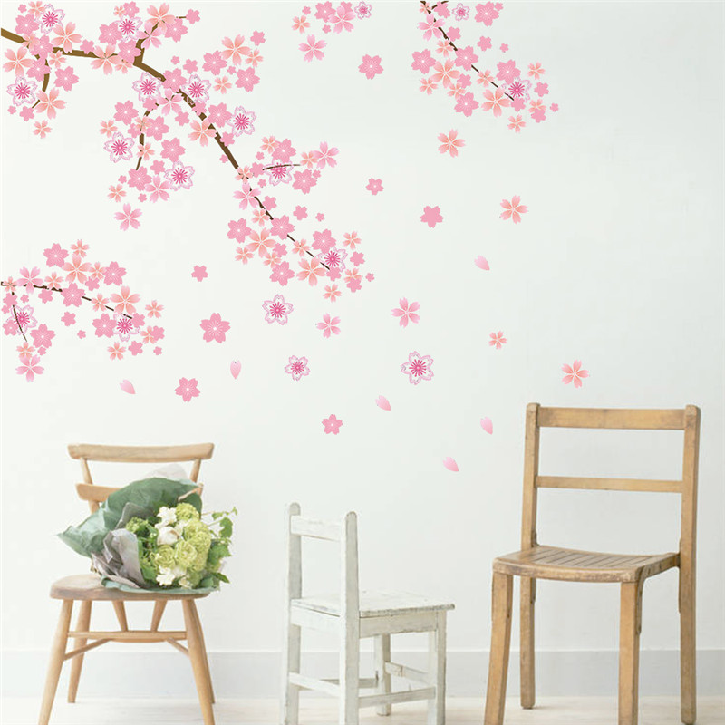 Pink Cherry Blossoms Tree Romantic Diy Home Decal Wall Sticker - Wall stickers for girlspink cherry blossom tree with birds wall stickers girls bedroom