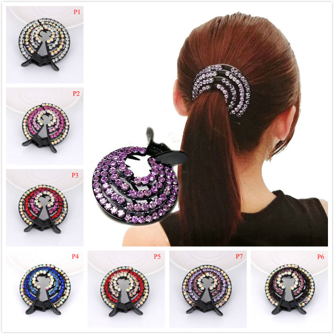 High Quality Shining Hair Accessory Women Ladies Hair Clips Nest Rhinestone Hairpin Ponytail Bun Holder Accessory Wholesale