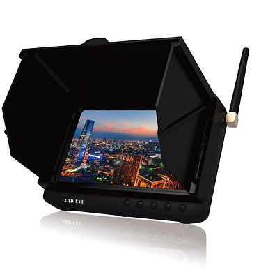 5.8GHz FPV Monitor 5 Inch HD LCD No Blue Screen Built-in Battery wireless AV Receiver Support 32GB TF Card