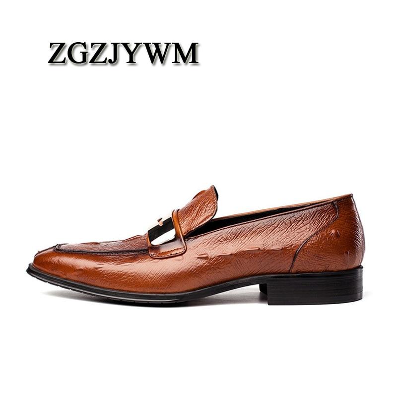 Dedo Zgzjywm Glitter on Crocodile Para Genuíno Marca Alta De Couro Moda Qualidade brown Pattern Apontado Slip Oxford Respirável Black Sapatos Homens blue w6wBrPx4q