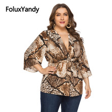 Leopard Blouses Women Open Stitch Loose Plus Size V-neck Three Quarter Sleeve Blouse Shirt SQQ1932