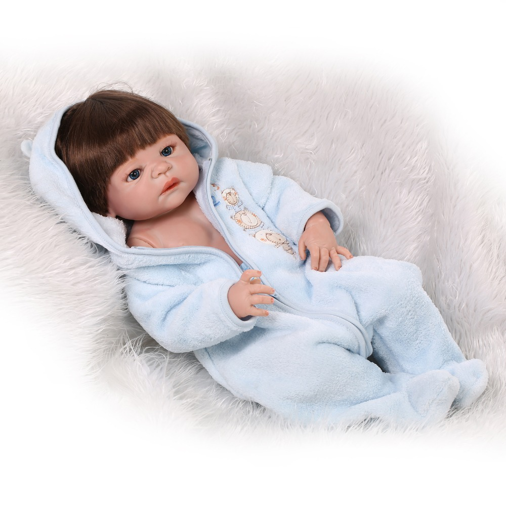 55cm full body silicone baby dolls for sale boy reborn babies rooted hair in blue clothes best. Black Bedroom Furniture Sets. Home Design Ideas