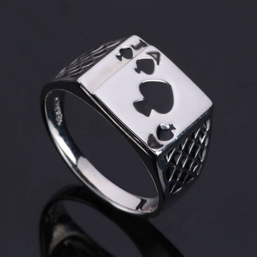Classical Vintage Men Ring Fashion Jewelry Black Enamel Spades A Heart Shape Poker Silver Plated Ring For Men