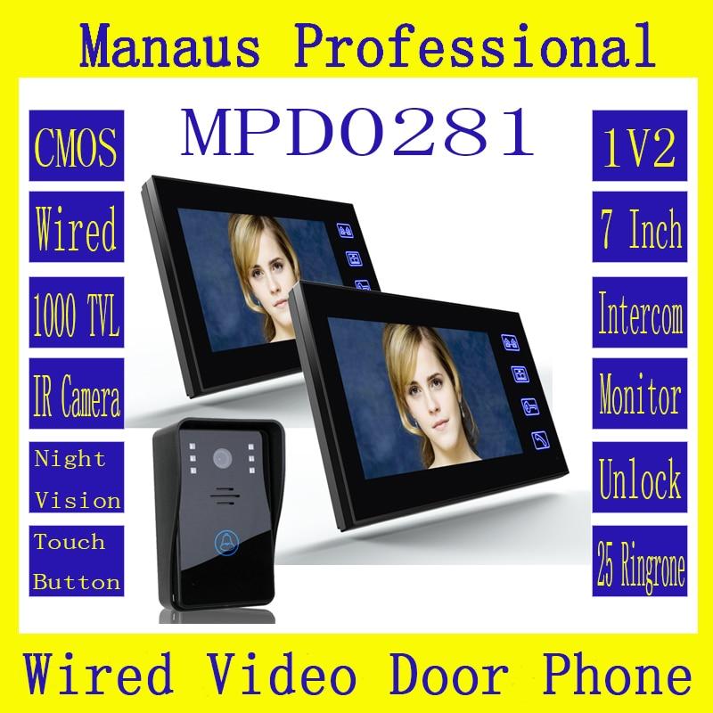 7 Video Door Phone Intercom Doorbell with 1pcs 1000TVL Outdoor Security CCTV Camera + 2pcs Home Security Indoor Monitor D281a