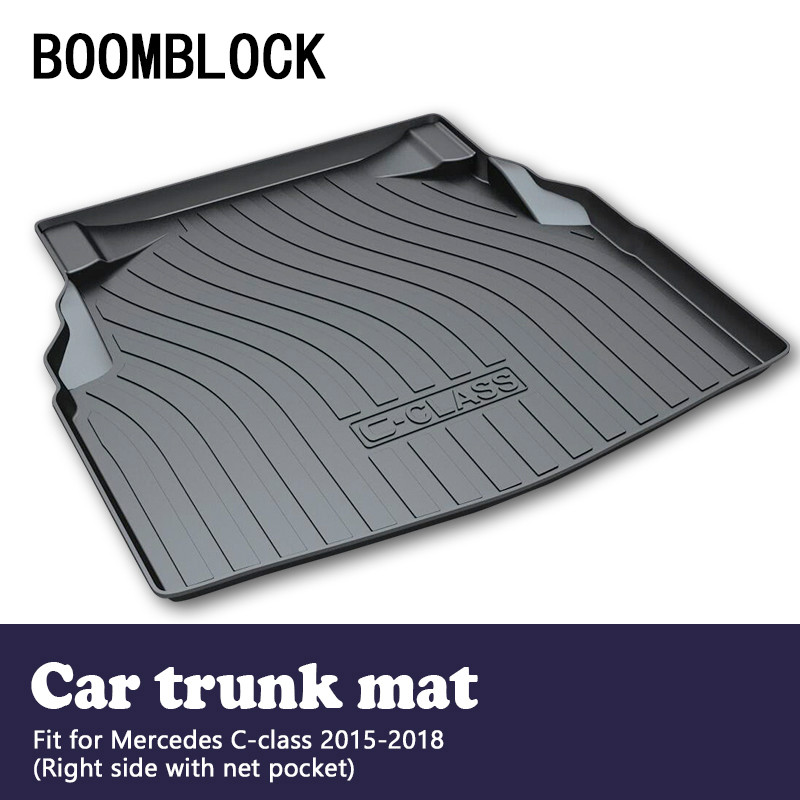 BOOMBLOCK For Mercedes W205 C-class 2015 2016 2017 2018 Waterproof Anti-slip Car Trunk Mat Tray Floor Carpet Pad Protector