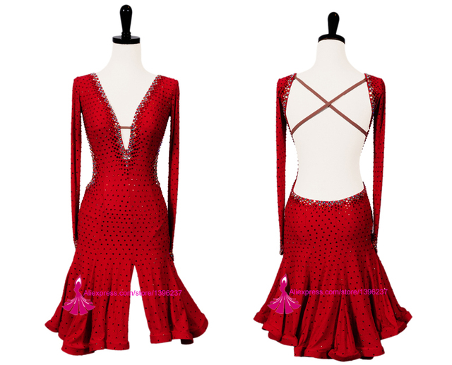 Latin Dance Skirt Women 2019 New V Neck Sexy Red Sumba Rumba Competition Dancing Wear Adult High Quality Latin Dress
