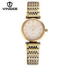 VINOCE Stainless Steel Gold Quartz Watch Women Top Brand Luxury 2017 Band Ladies Watches Fashion Ultra Thin Montre Femme V8369