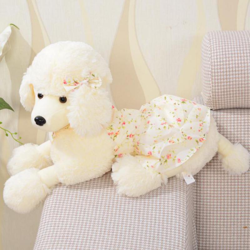 Süper Kawaii 1 adet 35 cm Karikatür Küçük Elbise Kaniş Peluş Köpek Sevimli Oyuncak Çocuk Hediye Doğum Günü Hediyesi Dolması Oyuncak