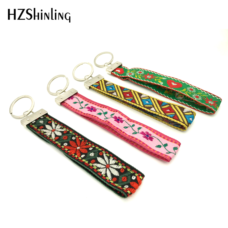 Ribbon Bohemia New Red Flower Embroidery Keyring Flowers Wristlet Key Fob Heart Pattern Key Holder Wristband Gifts Men Women