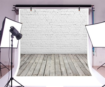 Laeacco White Brick Wall Wooden Floor Portrait Photography Backgrounds Customized Photographic Backdrops For Photo Studio