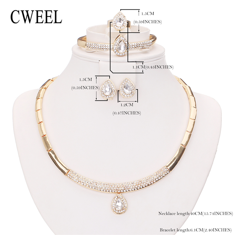 Cweel Bridal Jewelry Sets Fashion Indian Wedding Imitation Crystal Dubai For Women Costume Jewellery