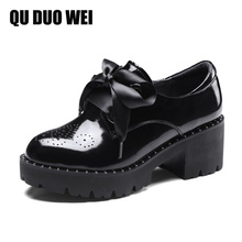 Genuine Leather Russian Women Shoes 2018 New Spring Round Toe Platform Female Pumps Casual Square High Heels Ladies Single Shoes