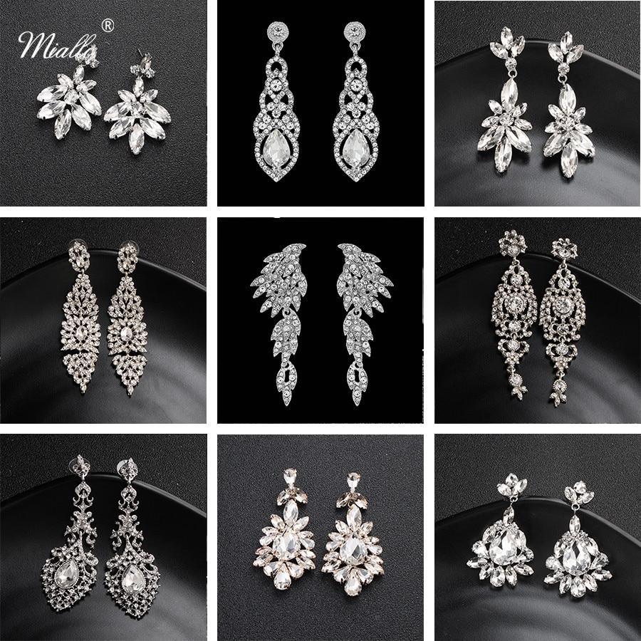 Miallo Long-Earrings Bride Crystal-Alloy Austrian Wedding Fashion Women for Big
