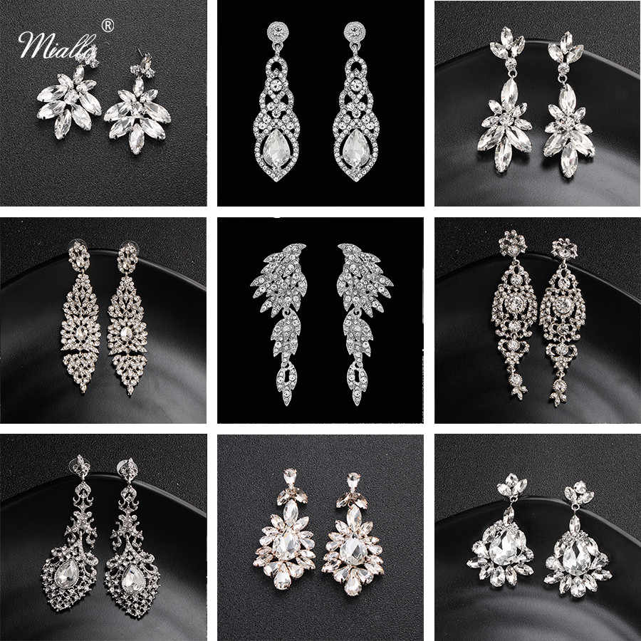 Miallo Fashion Austrian Crystal Alloy Bridal Long Earrings for Women Wedding Big Earrings for Bride Bridesmaids