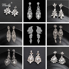 Miallo Fashion Austrian Crystal Alloy Bridal Long Earrings for Women Wedding Big Bride Bridesmaids