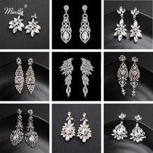 Miallo pendientes de boda largos de aleación de cristal austriaco de moda para las mujeres grandes pendientes de boda para las damas de honor de la novia