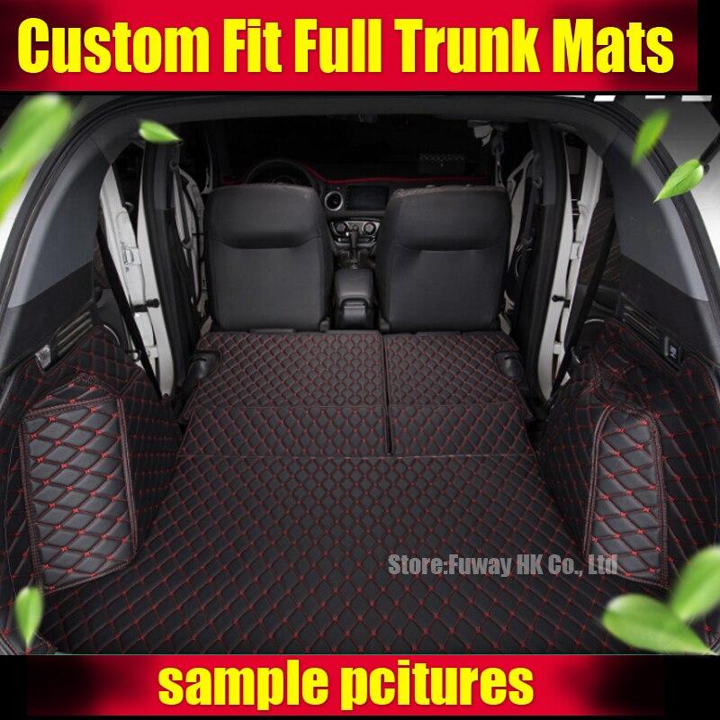 Meilleure qualité! Tapis spéciaux de coffre de voiture pour Mitsubishi Outlander 2013-2015 7 sièges en cuir imperméable tapis pour animaux de compagnie