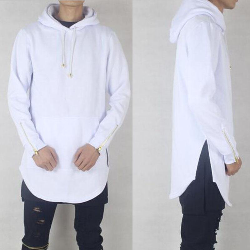 Hiphop Mens Oversized Hood Hoodie White Cool Gold Zip On