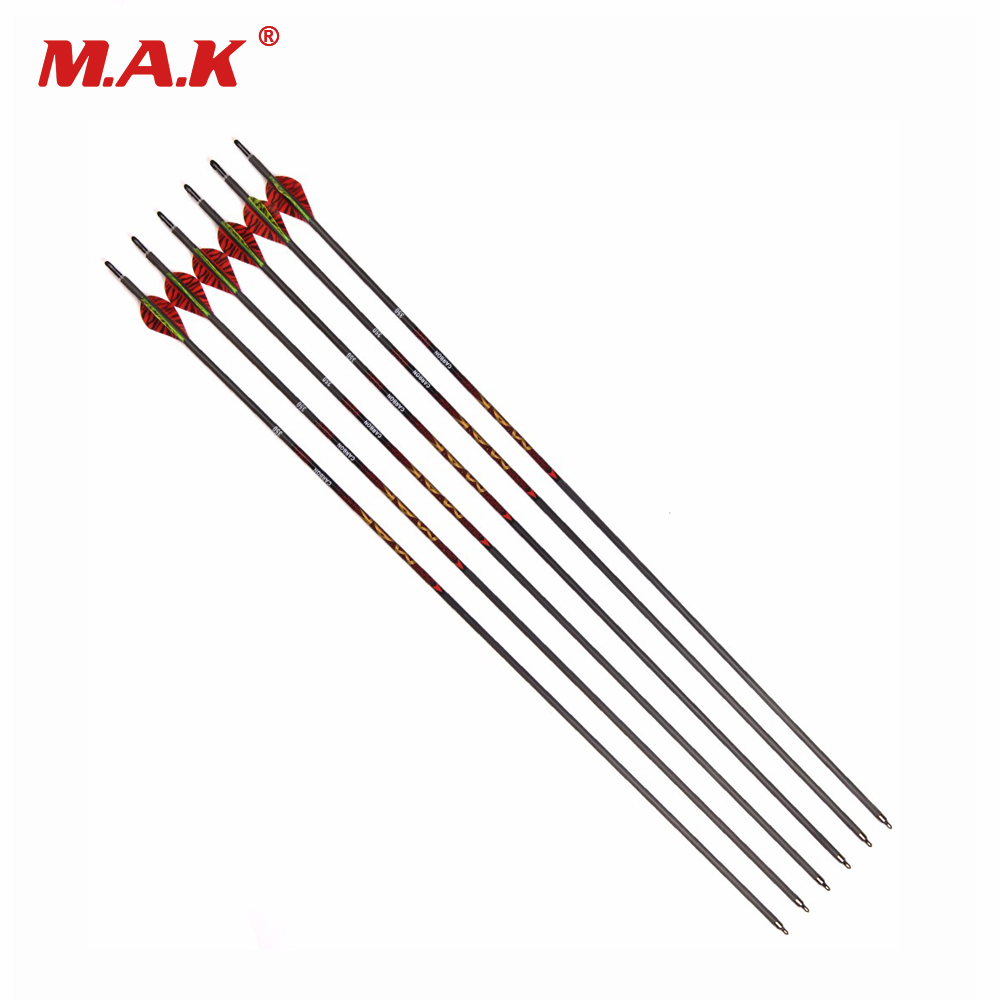 6 12 18 24 Pcs Mixed Carbon Arrow 31 Inch Spine 350 OD 7 0 mm