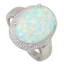 Luxurious Glowing Vogue 925 Sterling Silver Overlay Inexperienced Opal Ring silver ring Girls's ring measurement 5 6 7 eight 9 R447