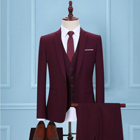 2018 men's purple Cultivate one's morality suit business groomsman groom wedding dress Two (coat and pants)